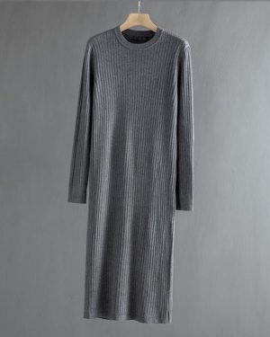 Stormy Gray Long Ribbed Sweater Dress