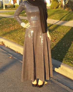 Stormy Gray Sequins Maxi Dress