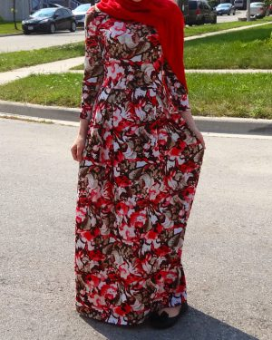 Tropical Floral Red Maxi Dress