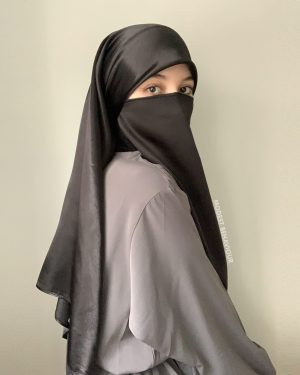 Black Silk Square Hijab