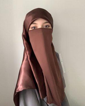 Chocolate Brown Silk Square Hijab