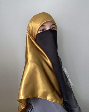 Gold Silk Square Hijab