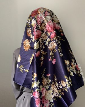 Navy Floral Square Hijab