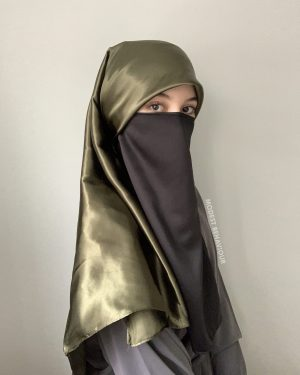 Olive Green Silk Square Hijab