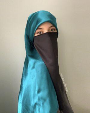 Teal Blue Silk Square Hijab